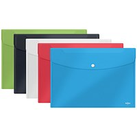 Rexel Choices A5 Popper Wallets, Assorted, Pack of 5