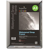 Waterproof Anti-glare Snapframe with Screw Kit, PVC, A3, Silver