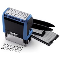 Trodat 4912 Printy Typo D-I-Y Stamp Kit, Ink, Tweezers & Lettering 3mm 4mm, 4 Lines of Text