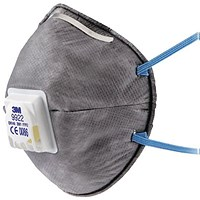 3M Mask FFP2V Particulate Respirator with 3M Cool Flow Valve, Grey, Pack of 10