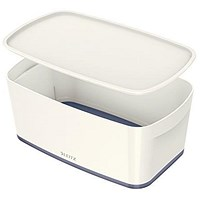 Leitz MyBox Plastic Storage Box with Lid, Small, White & Grey