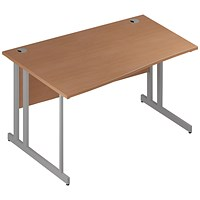 Trexus 1400mm Wave Desk, Left Hand, Silver Legs, Beech