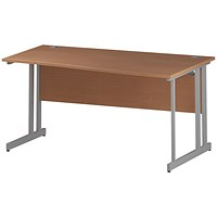 Trexus 1600mm Wave Desk, Right Hand, White Legs, Beech