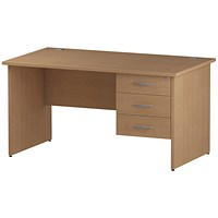 Trexus 1400mm Rectangular Desk, Panel Legs, 3 Drawer Pedestal, Oak