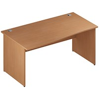 Trexus 1600mm Wave Desk, Left Hand, Panel Legs, Beech