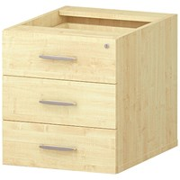 Trexus Fixed 3 Drawer Pedestal, Maple