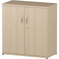 Trexus Low Office Cupboard, 1 Shelf, 800mm High, Maple