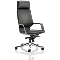 Adroit Xenon Executive Chair, Leather, Black on Black