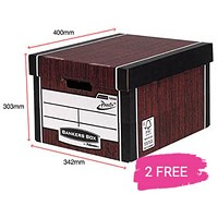 Fellowes Premium 726 Tall Bankers Box, Woodgrain, Buy 10 Get 2 Free