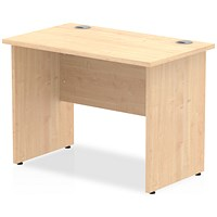 Trexus 1000mm Slim Rectangular Desk, Panel Legs, Maple