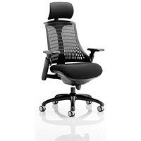 Trexus Flex Task Operator Chair With Headrest, Black Seat, Black Back, Black Frame