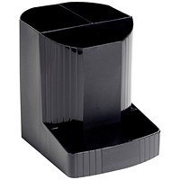 Exacompta Forever Pen Pot with 4 compartments, Recycled Plastic, Black