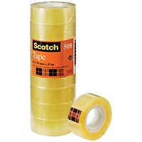 Scotch 508 Clear Tape, 19mm x 33m, Clear, Pack of 8