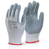 Click 2000 Nitrile Foam Nylon Glove, Large, Grey, Pack of 100