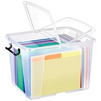 Strata Smart Box, 40 Litre, Clip-on Folding Lid, Carry Handles, Clear