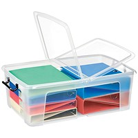 Strata Smart Box, 50 Litre, Clip-on Folding Lid, Carry Handles, Clear
