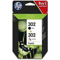 HP 302 Black/Tri-Colour Ink Cartridges (2 Cartridges)