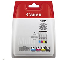 Canon CLI-571 Inkjet Cartridge Pack - Black, Cyan, Magenta and Yellow (4 Cartridges)