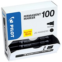 Pilot 100 Permanent Marker, Bullet Tip, Line Width 1mm, Black, Pack of 20