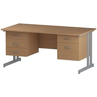 Trexus 1600mm Rectangular Desk, Silver Legs, 2 Pedestals, Oak