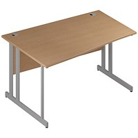 Trexus 1400mm Wave Desk, Left Hand, Silver Legs, Oak