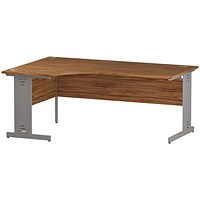 Trexus 1800mm Corner Desk, Left Hand, Cable Managed Silver Legs, Walnut