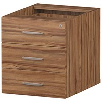 Trexus Fixed 3 Drawer Pedestal, Walnut