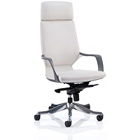 Adroit Xenon Executive Chair, Leather, White on White