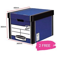Fellowes Premium 726 Tall Bankers Box, Blue & White, Buy 10 Get 2 Free