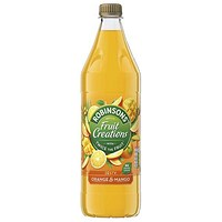 Robinsons Creation Orange and Mango Squash, No Added Sugar, 1 Litre, Pack of 12