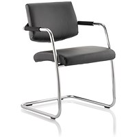Trexus Havanna Leather Visitor Chair - Black