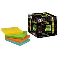 Post-it Extreme Notes, 76x76mm, Assorted Colours, Packs of 12 Pads x 45 Sheets