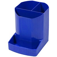 Exacompta Forever Pen Pot with 4 compartments, Recycled Plastic, Blue