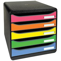 Exacompta Big Box Plus Drawer Set with 5 Drawers, A4+, Multicoloured