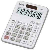 Casio Desktop Calculator, Solar and Battery Power, White