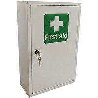 Click Medical Single Door Metal First Aid Cabinet, 460x300x140mm, White
