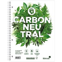 Silvine Carbon Neutral Notebook, A4, Perforated, 4 Holes, 120 Pages, Pack of 5