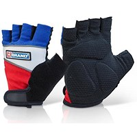 B-Brand Fingerless Gel Grip Gloves, Large, Black