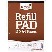 Silvine Headbound Refill Pad, A4, Punched & Perforated, Ruled, 160 Pages, Pack of 6