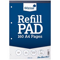 Silvine Headbound Quadrille Refill Pad, A4, Punched, 5mm Squares, 160 Pages, Pack of 6