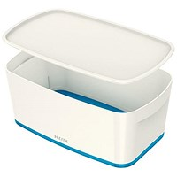 Leitz MyBox Plastic Storage Box with Lid, Small, White & Blue
