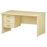 Trexus 1400mm Rectangular Desk, Panel Legs, 3 Drawer Pedestal, Maple
