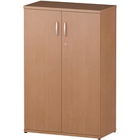 Trexus Medium Office Cupboard, 2 Shelves, 1200mm High, Beech