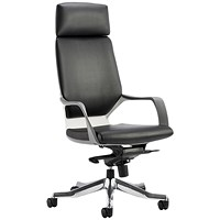 Adroit Xenon Executive Chair, Leather, Black on White