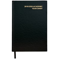 5 Star 2019/20 Academic Diary, Week to View, A5, Black