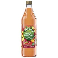 Robinsons Creation Peach and Raspberry Squash, No Added Sugar, 1 Litre, Pack of 12