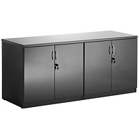 Trexus Credenza Low Cupboard, 720mm High, High Gloss Black