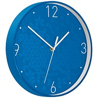 Leitz WOW Wall Clock, 290mm Diameter, Blue