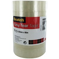 Scotch 508 Clear Tape, 25mm x 66m, Clear, Pack of 6