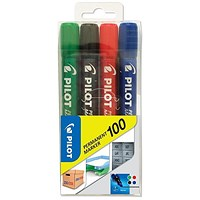 Pilot 100 Permanent Markers / Bullet Tip / Assorted Colours / Pack of 4